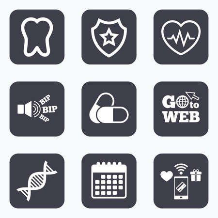 deoxyribonucleic: Mobile payments, wifi and calendar icons. Maternity icons. Pills, tooth, DNA and heart cardiogram signs. Heartbeat symbol. Deoxyribonucleic acid. Dental care. Go to web symbol. Illustration