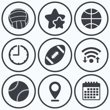 american downloads: Clock, wifi and stars icons. Sport balls icons. Volleyball, Basketball, Baseball and American football signs. Team sport games. Calendar symbol. Illustration
