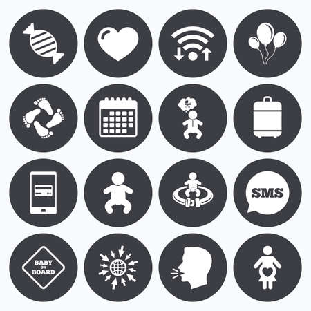 seat belt: Wifi, calendar and mobile payments. Pregnancy, maternity and baby care icons. Candy, strollers and fasten seat belt signs. Footprint, love and balloon symbols. Sms speech bubble, go to web symbols.