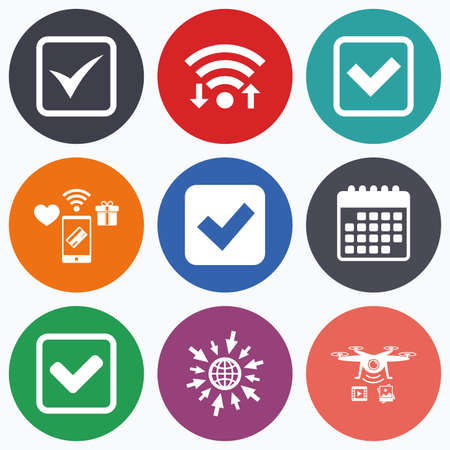checkbox: Wifi, mobile payments and drones icons. Check icons. Checkbox confirm squares sign symbols. Calendar symbol. Illustration