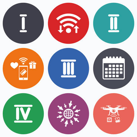 ancient roman: Wifi, mobile payments and drones icons. Roman numeral icons. 1, 2, 3 and 4 digit characters. Ancient Rome numeric system. Calendar symbol. Illustration