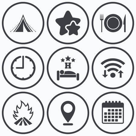 breakfast in bed: Clock, wifi and stars icons. Food, sleep, camping tent and fire icons. Knife, fork and dish. Hotel or bed and breakfast. Road signs. Calendar symbol.
