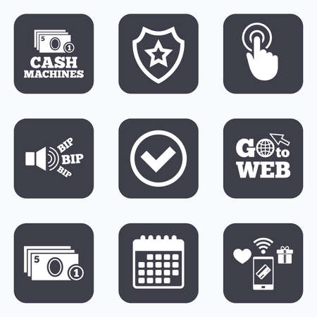 withdrawals: Mobile payments, wifi and calendar icons. ATM cash machine withdrawal icons. Click here, check PIN number, processing and cash withdrawal symbols. Go to web symbol.