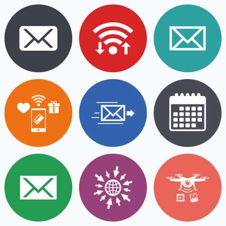 webmail: Wifi, mobile payments and drones icons. Mail envelope icons. Message delivery symbol. Post office letter signs. Calendar symbol.