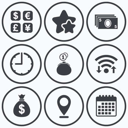 currency converter: Clock, wifi and stars icons. Currency exchange icon. Cash money bag and wallet with coins signs. Dollar, euro, pound, yen symbols. Calendar symbol. Illustration