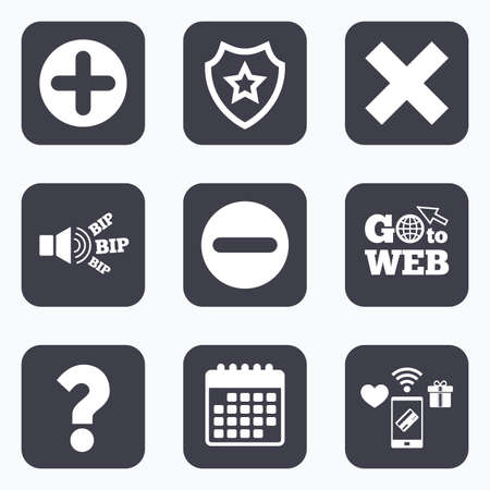 clear out: Mobile payments, wifi and calendar icons. Plus and minus icons. Delete and question FAQ mark signs. Enlarge zoom symbol. Go to web symbol. Illustration