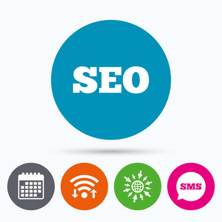 meta: Wifi, Sms and calendar icons. SEO sign icon. Search Engine Optimization symbol. Go to web globe. Illustration