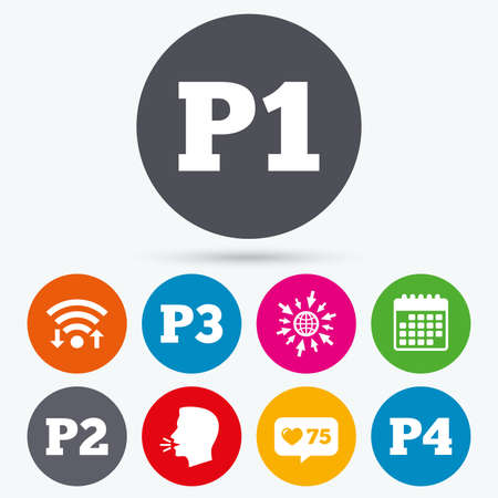 second floor: Wifi, like counter and calendar icons. Car parking icons. First, second, third and four floor signs. P1, P2, P3 and P4 symbols. Human talk, go to web.
