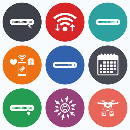 subscribing: Wifi, mobile payments and drones icons. Subscribe icons. Membership signs with arrow or hand pointer symbols. Website navigation. Calendar symbol.
