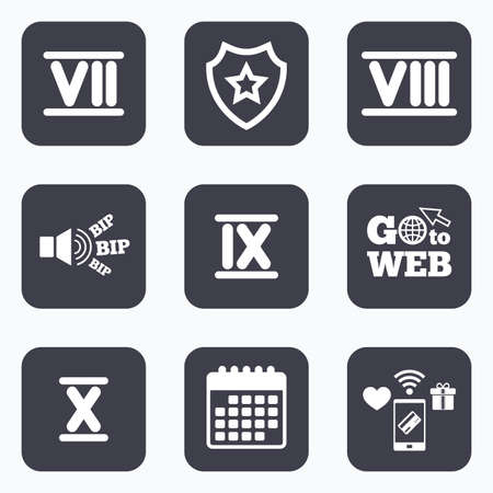 7 8: Mobile payments, wifi and calendar icons. Roman numeral icons. 7, 8, 9 and 10 digit characters. Ancient Rome numeric system. Go to web symbol.