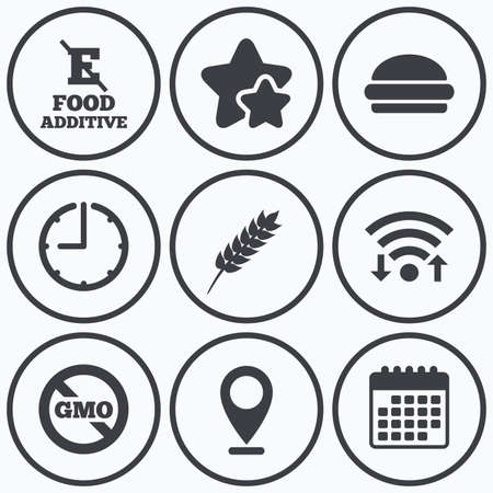 set free: Clock, wifi and stars icons. Food additive icon. Hamburger fast food sign. Gluten free and No GMO symbols. Without E acid stabilizers. Calendar symbol. Illustration