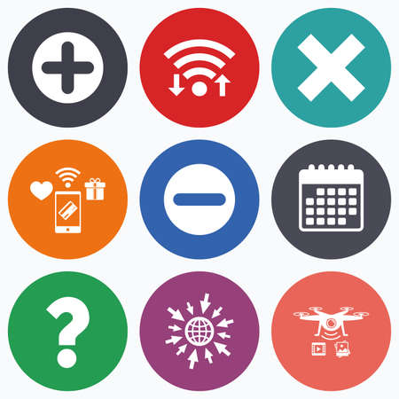 clear out: Wifi, mobile payments and drones icons. Plus and minus icons. Delete and question FAQ mark signs. Enlarge zoom symbol. Calendar symbol. Illustration