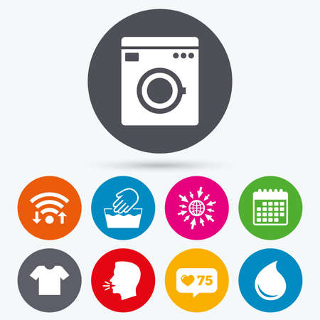 washhouse: Wifi, like counter and calendar icons. Wash machine icon. Hand wash. T-shirt clothes symbol. Laundry washhouse and water drop signs. Not machine washable. Human talk, go to web.