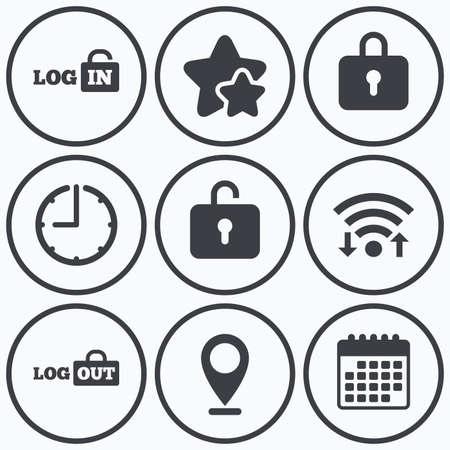 adentro y afuera: Reloj, WiFi y estrellas iconos. Inicio de sesión y cierre de sesión iconos. Iniciar sesión o Suscribirse a cabo símbolos. icono de bloqueo. símbolo de calendario.