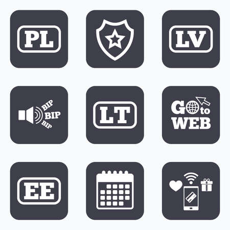 lt: Mobile payments, wifi and calendar icons. Language icons. PL, LV, LT and EE translation symbols. Poland, Latvia, Lithuania and Estonia languages. Go to web symbol.