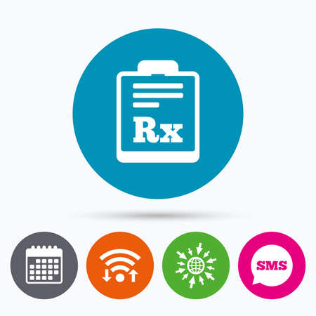 rx: Wifi, Sms and calendar icons. Medical prescription Rx sign icon. Pharmacy or medicine symbol. Go to web globe.