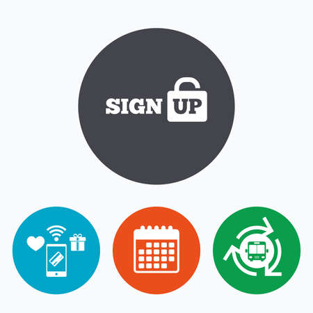 lock up: Sign up sign icon. Registration symbol. Lock icon. Mobile payments, calendar and wifi icons. Bus shuttle. Illustration