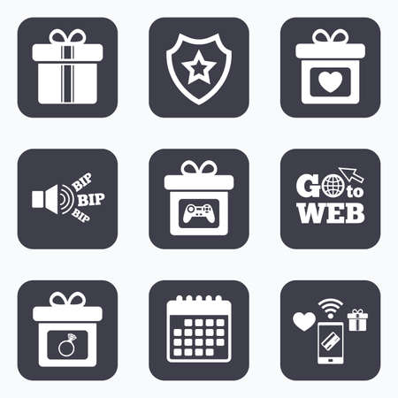 web engagement: Mobile payments, wifi and calendar icons. Gift box sign icons. Present with bow and ribbons symbols. Engagement ring sign. Video game joystick. Go to web symbol.