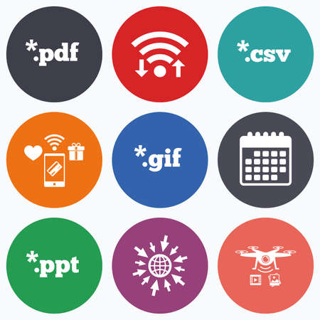 tabular: Wifi, mobile payments and drones icons. Document icons. File extensions symbols. PDF, GIF, CSV and PPT presentation signs. Calendar symbol.