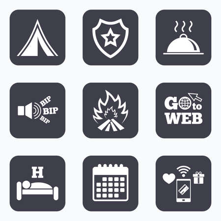 breakfast in bed: Mobile payments, wifi and calendar icons. Hot food, sleep, camping tent and fire icons. Hotel or bed and breakfast. Road signs. Go to web symbol.