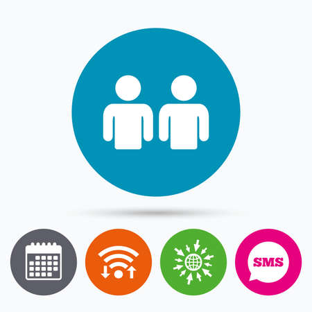 2 people: Wifi, Sms and calendar icons. Friends sign icon. Social media symbol. Go to web globe. Illustration