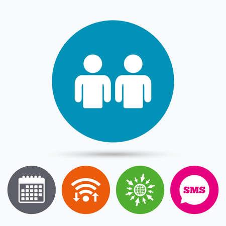 personas dialogando: Wifi, SMS y calendario iconos. Amigos icono de la muestra. símbolo de los medios de comunicación social. Ir a la Web del globo.