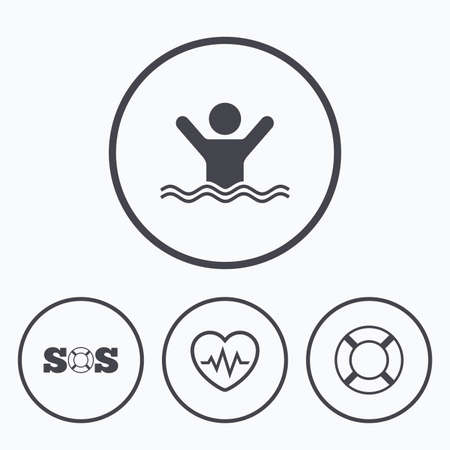 drowns: SOS lifebuoy icon. Heartbeat cardiogram symbol. Swimming sign. Man drowns. Icons in circles.