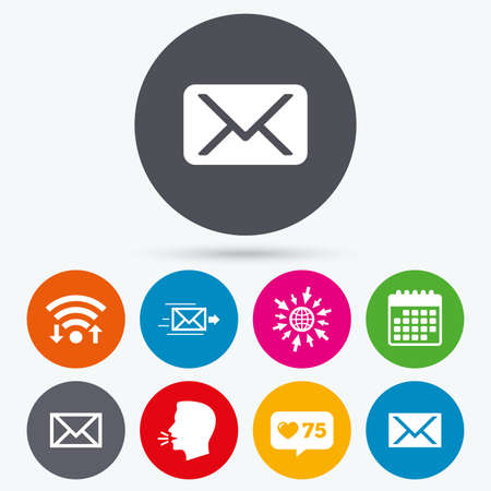 webmail: Wifi, like counter and calendar icons. Mail envelope icons. Message delivery symbol. Post office letter signs. Human talk, go to web. Illustration