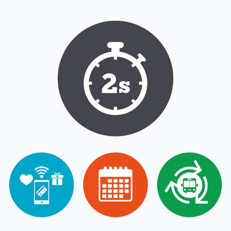 seconds: Timer 2 seconds sign icon. Stopwatch symbol. Mobile payments, calendar and wifi icons. Bus shuttle. Illustration