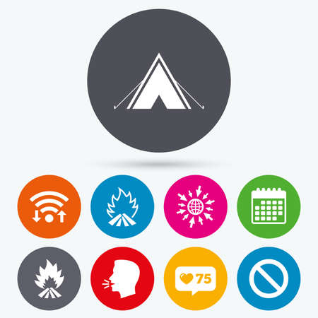 flame like: Wifi, like counter and calendar icons. Tourist camping tent icon. Fire flame and stop prohibition sign symbols. Human talk, go to web. Illustration