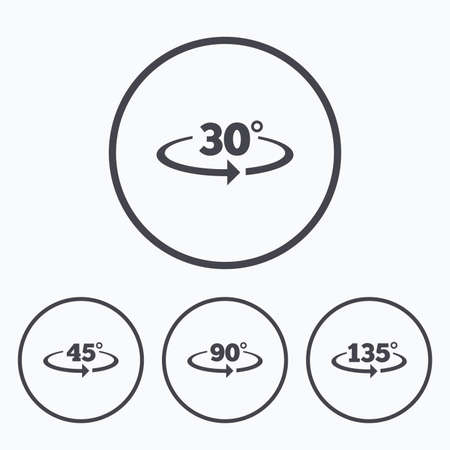 Angle 30-135 degrees icons. Geometry math signs symbols. Full complete rotation arrow. Icons in circles.