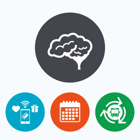 cerebellum: Brain with cerebellum sign icon. Human intelligent smart mind. Mobile payments, calendar and wifi icons. Bus shuttle.