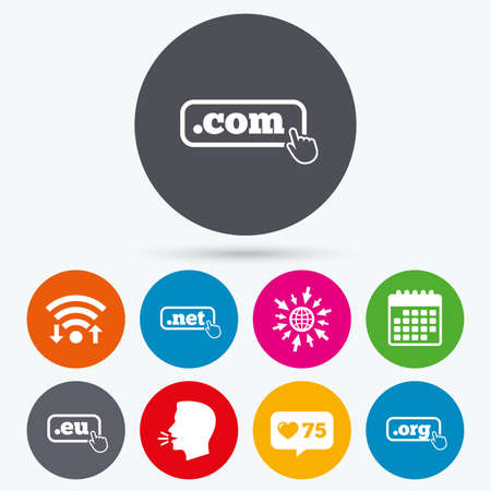 dns: Wifi, like counter and calendar icons. Top-level internet domain icons. Com, Eu, Net and Org symbols with hand pointer. Unique DNS names. Human talk, go to web.