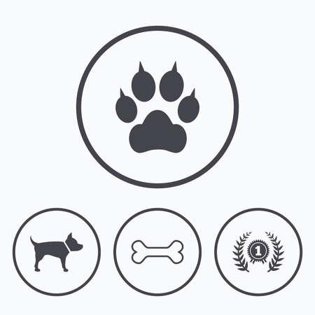 Huisdieren pictogrammen. Kat paw met klauwen teken. Winnaar lauwerkrans en medaille-symbool. Huisdieren voedsel. Pictogrammen in cirkels. Vector Illustratie