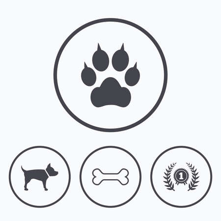 Pets icons. Cat paw with clutches sign. Winner laurel wreath and medal symbol. Pets food. Icons in circles.