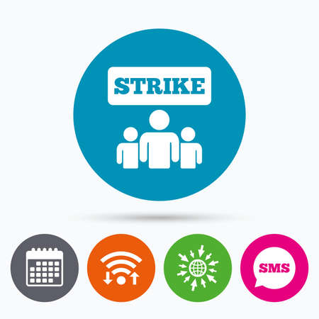 protest sign: Wifi, Sms and calendar icons. Strike sign icon. Group of people symbol. Industrial action. People protest. Go to web globe.