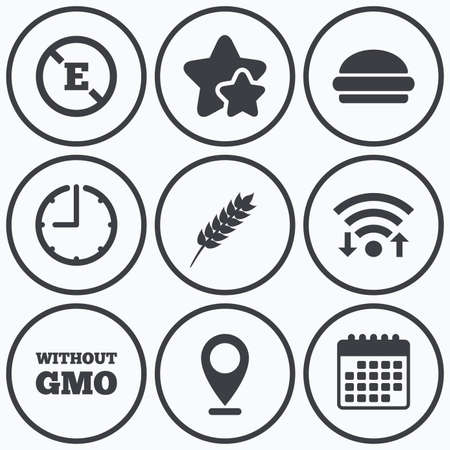 stabilizers: Clock, wifi and stars icons. Food additive icon. Hamburger fast food sign. Gluten free and No GMO symbols. Without E acid stabilizers. Calendar symbol. Illustration
