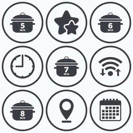 6 7: Clock, wifi and stars icons. Cooking pan icons. Boil 5, 6, 7 and 8 minutes signs. Stew food symbol. Calendar symbol. Illustration