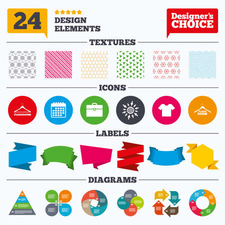 cloakroom: Banner tags, stickers and chart graph. Cloakroom icons. Hanger wardrobe signs. T-shirt clothes and baggage symbols. Linear patterns and textures.