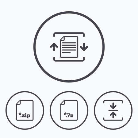 zipped: Archive file icons. Compressed zipped document signs. Data compression symbols. Icons in circles. Illustration