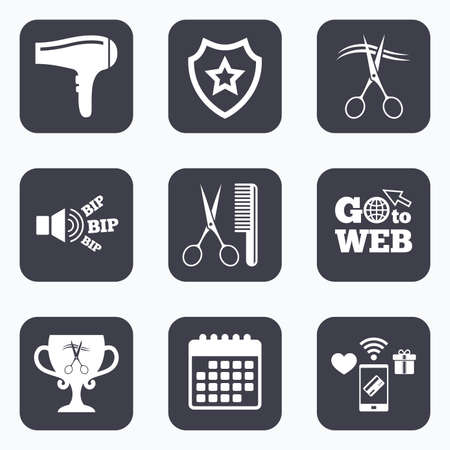 blow drying: Mobile payments, wifi and calendar icons. Hairdresser icons. Scissors cut hair symbol. Comb hair with hairdryer symbol. Barbershop winner award cup. Go to web symbol. Illustration