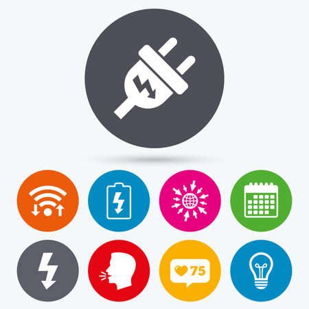 spiral cord: Wifi, like counter and calendar icons. Electric plug icon. Lamp bulb and battery symbols. Low electricity and idea signs. Human talk, go to web. Illustration