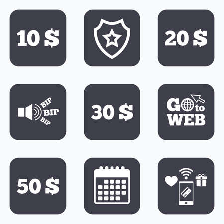 20 30: Mobile payments, wifi and calendar icons. Money in Dollars icons. 10, 20, 30 and 50 USD symbols. Money signs Go to web symbol.