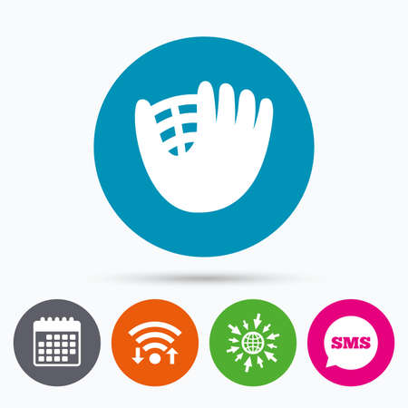 mitt: Wifi, Sms and calendar icons. Baseball glove or mitt sign icon. Sport symbol. Go to web globe. Illustration