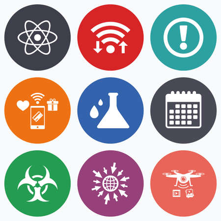 Wifi, mobile payments and drones icons. Attention and biohazard icons. Chemistry flask sign. Atom symbol. Calendar symbol.