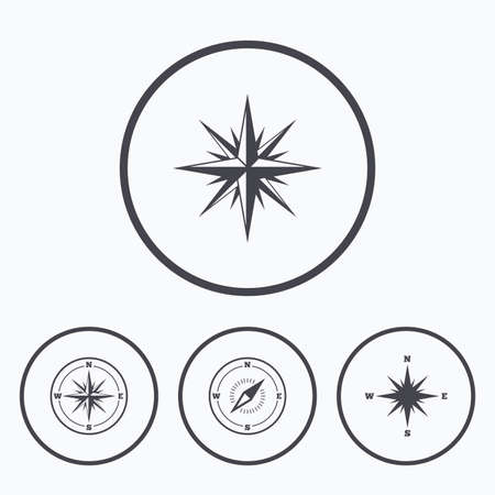 windrose: Windrose navigation icons. Compass symbols. Coordinate system sign. Icons in circles.