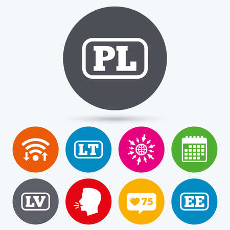 lt: Wifi, like counter and calendar icons. Language icons. PL, LV, LT and EE translation symbols. Poland, Latvia, Lithuania and Estonia languages. Human talk, go to web.