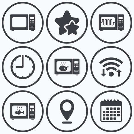 microwave stove: Clock, wifi and stars icons. Microwave oven icons. Cook in electric stove symbols. Grill chicken and fish signs. Calendar symbol.