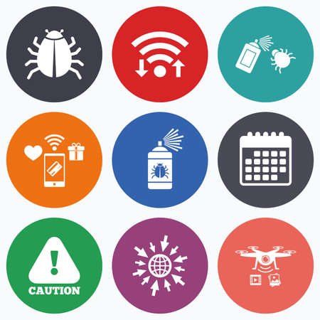 acarus: Wifi, mobile payments and drones icons. Bug disinfection icons. Caution attention symbol. Insect fumigation spray sign. Calendar symbol.