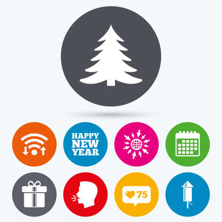 new year counter: Wifi, like counter and calendar icons. Happy new year icon. Christmas tree and gift box signs. Fireworks rocket symbol. Human talk, go to web.